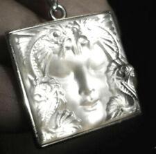 Fabulous Lalique Crystal  Silver Masque de Femme Pendant Necklace
