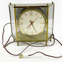Vintage Mid Century Master Crafters Brass Mantle Table Clock 911 Electric Works!