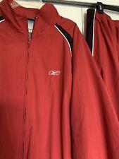 REEBOK XXL Windbreaker Track Suit Athletic Jogging Jacket Pants Red/Black