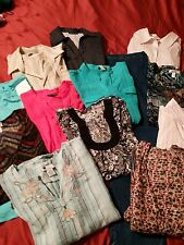Women's PLUS SIZE 2X CLOTHING Lot ~ 13 PC's  Blouses w/1 Pair of Pants & 1 Skirt