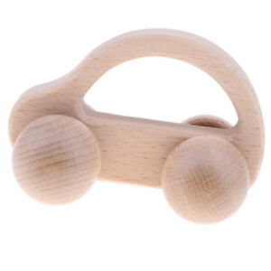 Natural Wooden Rattle Teether Baby Teething Development Toy - Car