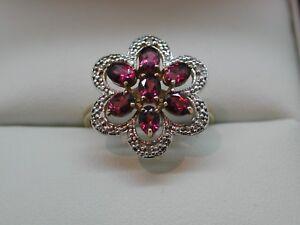 Lovely 2 Colour 9 Carat Gold Large Rhodolite & Diamond Flower Cluster Dress Ring