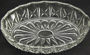 Small Fruit Nut Bowl Pressed Art Glass Sun Water Lilly Day Bloomer Trinket Dish