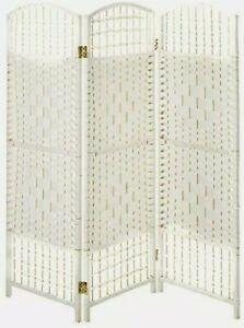 Oriental Furniture 4 ft. Tall Fiber Weave Room Divider - White - 3 Panels NEW