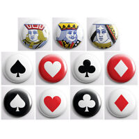 "PLAYING CARD SUITE - card deck pinback buttons - 11 total 1"" pins badges"
