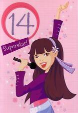 14th Birthday Card - Age 14 Girls - Fourteen Superstar Pop Singer