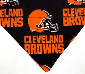 Football Dog Bandana, Cleveland Browns over the collar Dog scarf, black