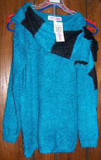 Girls Derek Girl Heart NWT Sweater with Scarf Blue Black Soft Warm Medium 10/12