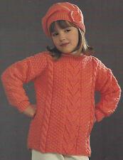 """Girls Knitting Pattern Aran Sweater/Tunic & Hat 20-28"""" 493"""