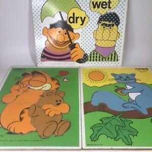 3-Vintage Playschool Wooden Puzzles Bert & Ernie 1973, Garfield 1978 - O1