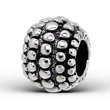 925 Sterling Silver Decorative Bubble Design Round Bracelet Charm Bead Gift B286