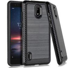 For Nokia 3.1A / Nokia 3.1C - Hard Hybrid Brushed Armor Phone Case Cover Black