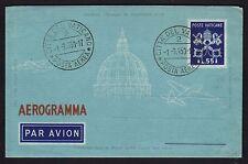VATICANO 1950 Aerogramma 2A 55L ANNULLATO (ZUD)