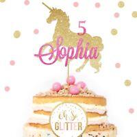 Custom Unicorn Cake Topper Glitter Topper Unicorn Cake Name Personalised Age