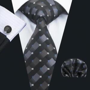 Pure Silk Neck Tie Cufflinks &Handkerchief Set Black Grey Squares Pattern