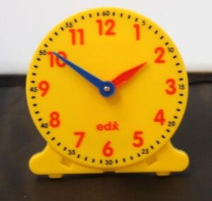 EDX Yellow 12 Hour Clock Face. Educational, Home School Learning resource