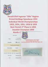 Olle Nygren Bristol Bulldogs Speedway 1953 Raro Original Corte firmada a mano
