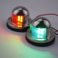 Pair of Fresh Red & Green LED Lights Bow Navigation For Boats Stainless Housing