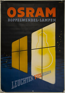 Vintage Large 1950s German OSRAM Light Bulb Mid Century Great Advertising Poster