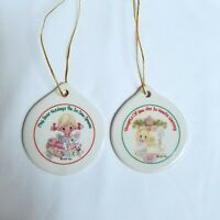 Precious Moments Porcelain Christmas Ornaments Lot Two Sided Flat Discs 2004