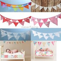 3.2m 12 Flags Fabric Bunting Banner Pennant Wedding/Baby's Birthday Party Decor