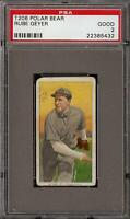 Rare 1909-11 T206 Rube Geyer Polar Bear St. Louis PSA 2 GD