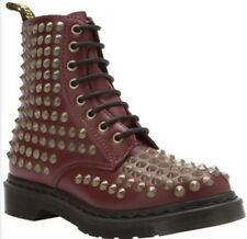 DS WOMENS Dr Martens CHERRY SPIKED 8 EYELET BOOTS SZ 8 AW004 NOBOx AIR FREE