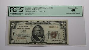 $50 1929 Tulsa Oklahoma OK National Currency Bank Note Bill Ch. #5171 XF40 PCGS