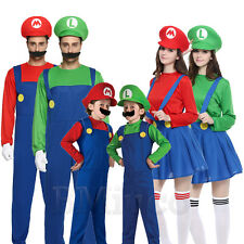 Kids Super Mario Luigi Bros Fancy Dress Costume Mens Womens Outfit Cosplay Sets