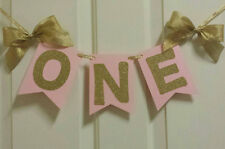 One First Birthday Pink Gold Banner Garland High Chair or wall Decor Princess
