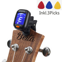 Bass/Guitar/Ukulele/Violin Digital Chromatic LCD Clip-On Tuner with 3 Paddles