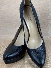 Women's Talbots Black Leather Croc Embossed Platform Heel Pumps 9.5B New