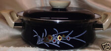 SANKO WARE KIKYO PORCELAIN ON STEEL COVERED CASSEROLE PAN 3 QUARTS DARK BLUE
