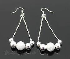 Stunning Mutli Plain Sparkle Ball Silver SP Dangle Drop Womens Girls Earrings