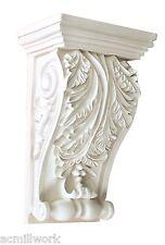 Corbel Decorative Leaf 8 x 5 Inch Primed White bracket for wall , shelf, ceiling