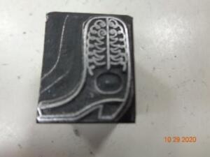 Printing Letterpress Printer Block Decorative Cowboy Boot Print Cut