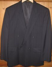 Evan Picone Men's Jacket Suit Coat Double Breast Wool Blue Stripe 38 R