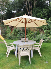 Garden Table, 4 Chairs and Parasol.