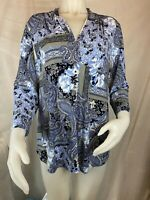 Charter Club Pleated V-Neck 3/4 Sleeve Blouse Cerulean Sky Blue Women's XL #63