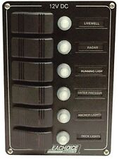 New Boat Circuit Breaker Panel With Contura Switches 6 Gang Scp 12501