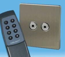 Varilight V-Pro IR 2 Gang Remote/Touch LED Dimmer Screwless Matt Chrome & Remote