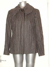 MARKS & SPENCER, SIZE 12 BLACK/BROWN MIXED CHECKED COAT/JACKET, 69% WOOL