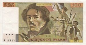 Billet de 100 f. Delacroix de 1979 W.20 sans déchirure 7 trous encore craquant