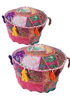 Moroccan Chair Pouffe Pouf Ottoman Bean Bag Footstool Round Peachwork Pouf 2 Pcs