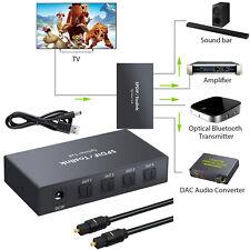 SPDIF TOSLINK Switcher 4x1 Digital Optical Audio Splitter Cable for PS3 DVD HDTV