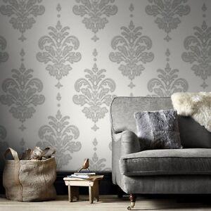 Alina Grey & White Wallpaper Per Roll (Free Delivery)