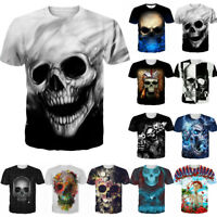 Funny Punk Skull 3D Graphic Print Men Women T-Shirt Casual Short Sleeve Tee Tops