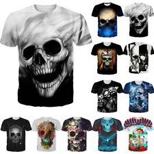 Funny Punk Skull 3D Graphic Print Men Women T-Shirt Casual Short Sleeve Tee Tops