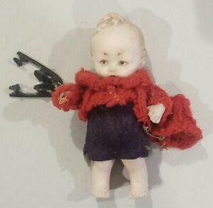 """3.5"""" Antique Mignonette Bisque Boy Child Doll Blonde dollhouse Ice Skates"""