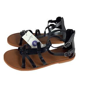 Universal Thread Womens Sandals Size 8 Black Alva Flat Gladiator New